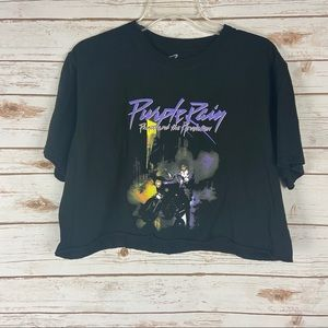 Prince Purple Rain Cropped Tee Black Large